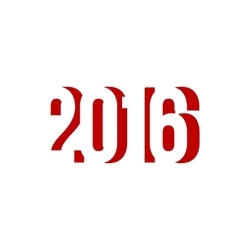 red number of 2016 happy new year vector image