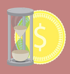 Time is money hourglass with golden coin vector