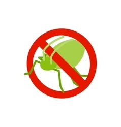 Warning sign with grasshopper icon vector
