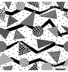Retro geometry seamless pattern in black and white vector