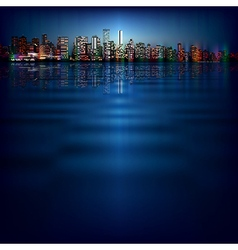 abstract night blue background with silhouette of vector image