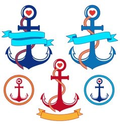anchors with ribbons and frames set vector image vector image