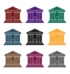 bank icon in black style isolated on white vector image