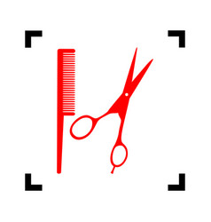 Barber shop sign red icon inside black vector
