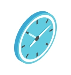 Blue wall clock icon isometric 3d style vector