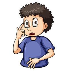 Boy pointing at his eye vector image