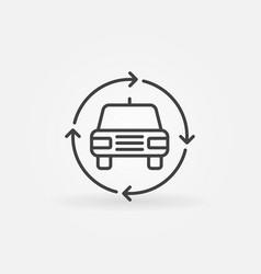 Car in circular arrows icon vector