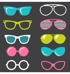 colorful retro sunglasses set vector image