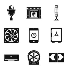 cooler icons set simple style vector image vector image