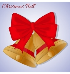 Cristmas bells with red bow simple cartoon style vector