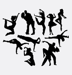 Dancing male female and couple silhouettes vector
