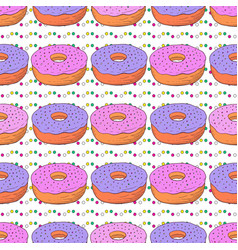 donuts seamless pattern doodle birthday vector image