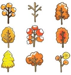 Doodle of autumn tree set vector
