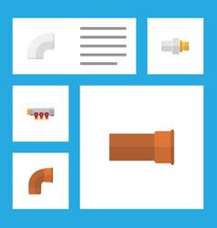 flat icon plumbing set of iron industry plastic vector image vector image