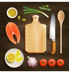 Flat lay cooking dark background image vector