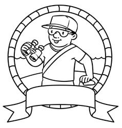 Funny lifeguard coloring book emblem vector