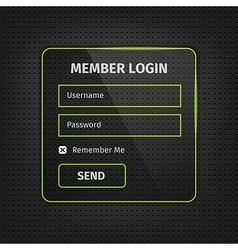 Green member login ui on black background vector