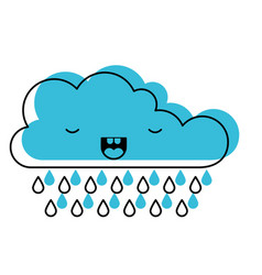 Kawaii cloud with rain in watercolor silhouette vector