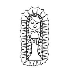 Monochrome contour of canvas of virgin of vector
