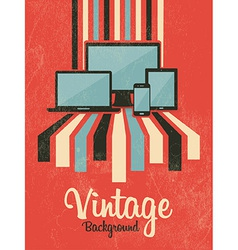 Retro vintage background with electric devices vector