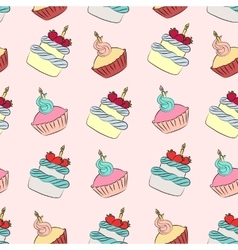 Seamless cream cupcake and cake pattern vector image vector image