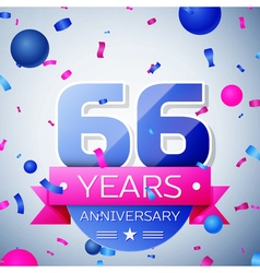 Sixty six years anniversary celebration on grey vector