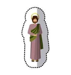 Sticker figure human of saint joseph vector