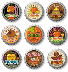 thanksgiving bottle caps vector image