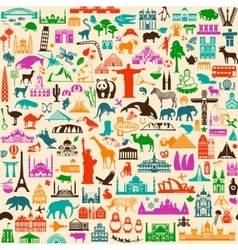 Travel icons pattern vector