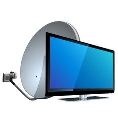 Tv with satellite antenna vector