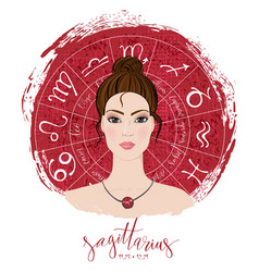 zodiac signs sagittarius in image of beauty girl vector image vector image