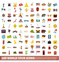 100 world tour icons set flat style vector image