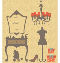 Vintage dressing table vector