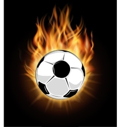 Burning soccer ball isolated over black background vector
