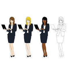 Business woman with laptop vector