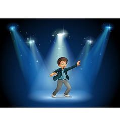 A stage with a boy dancing at the center vector