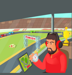 racing coach concept cartoon style vector image