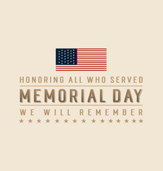 memorial day art vector image