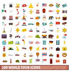 100 world tour icons set flat style vector