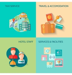 Hotel service composition set vector