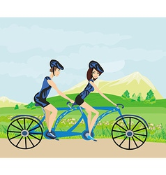 Couple biking in the mountains vector