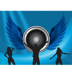 silhouttes dance on big speaker and wings vector image