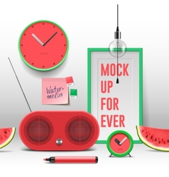 Workspace mock up red objects vector