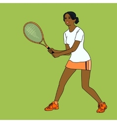 Mulatto girl playing tennis vector