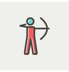 Archery sport thin line icon vector