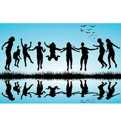 Group of boys and girls jumping outdoor vector