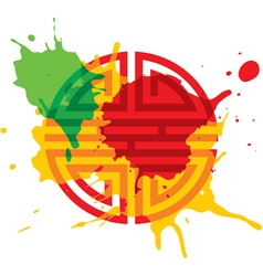 Paint splash oriental design element vector