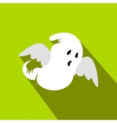 Ghost flat icon with shadow vector