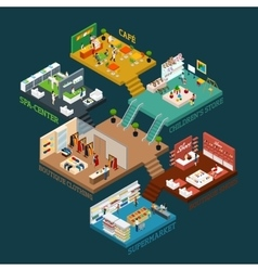Multi storied shopping mall isometric icon vector