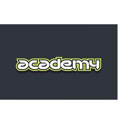 Academy word text logo design green blue white vector